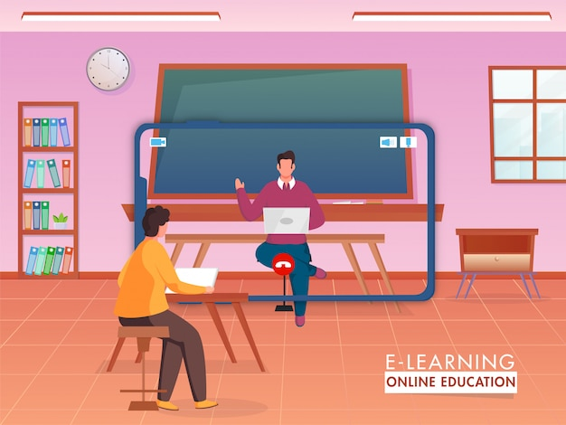 Teacher giving online education to his student from digital devices for maintain social distancing to prevent from coronavirus. Premium Vector