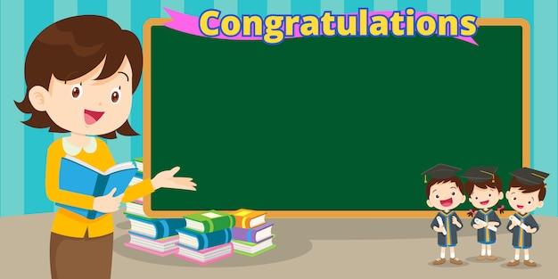 Teacher and graduation students Premium Vector