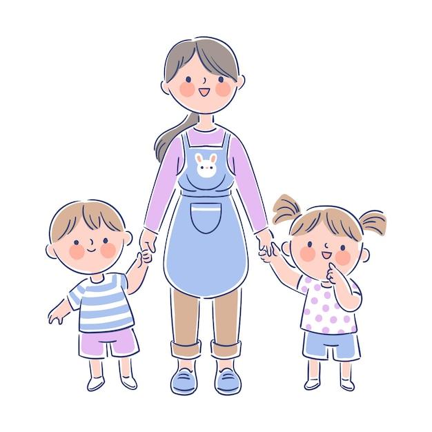 Insegnante che tiene piccoli studenti dalle loro mani Vettore gratuito