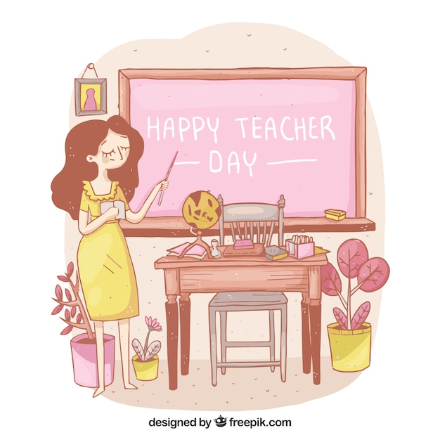 Teacher in a yellow dress in the\ classroom