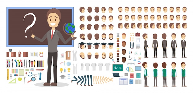 Teacher male character in uniform set or kit for animation with various views Premium Vector