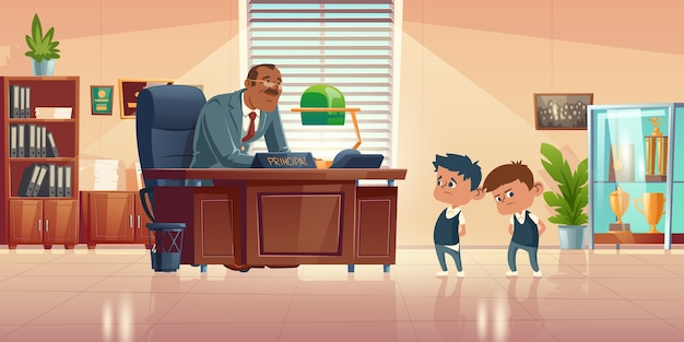 Teacher meeting with kids in principals office. cartoon illustration of kind man school headmaster talk with two guilty boys. administration cabinet with director and students Free Vector