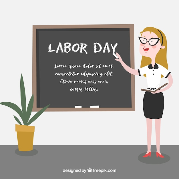 Teacher on labor day with flat design