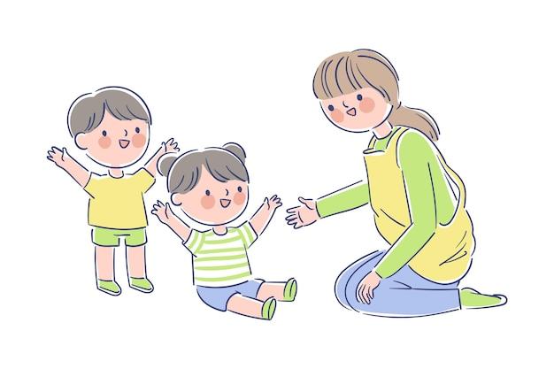 Insegnante che gioca con i piccoli studenti Vettore gratuito