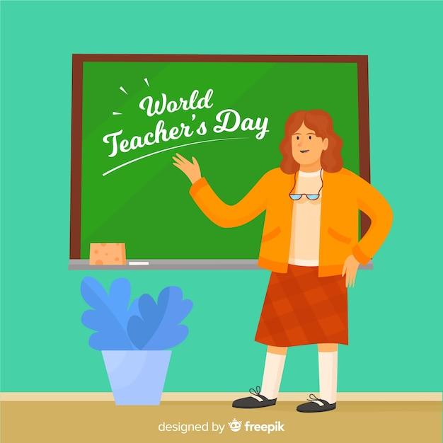Teacher pointing at blackboard flat design Free Vector