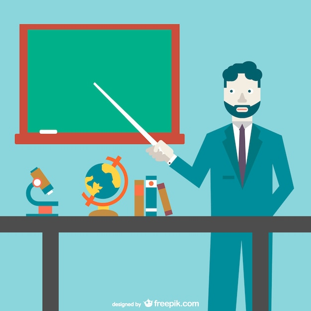 Teacher pointing to the blackboard Free Vector