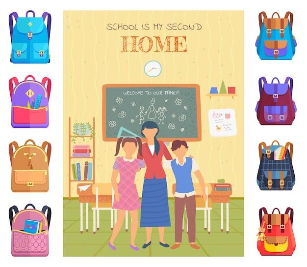 Teacher and pupils in classroom, school vector Premium Vector