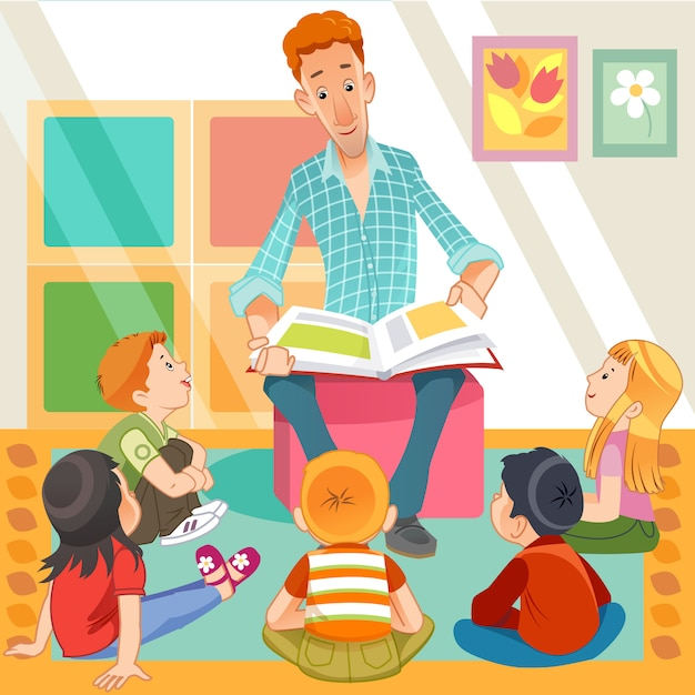 Teacher reading for cute kids in the kinder garden Premium Vector