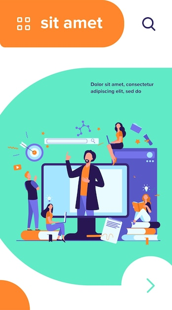 Teacher reading lecture online isolated flat vector illustration. students learning lesson via laptop and listening webinar Free Vector