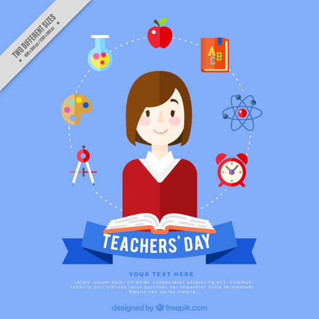 Teacher's day background with elements of subjects Free Vector