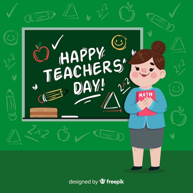 Teacher's day background with female teacher and blackboard in flat design Free Vector
