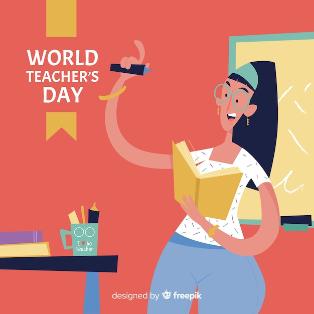 Teacher's day background with female teacher in flat design Free Vector