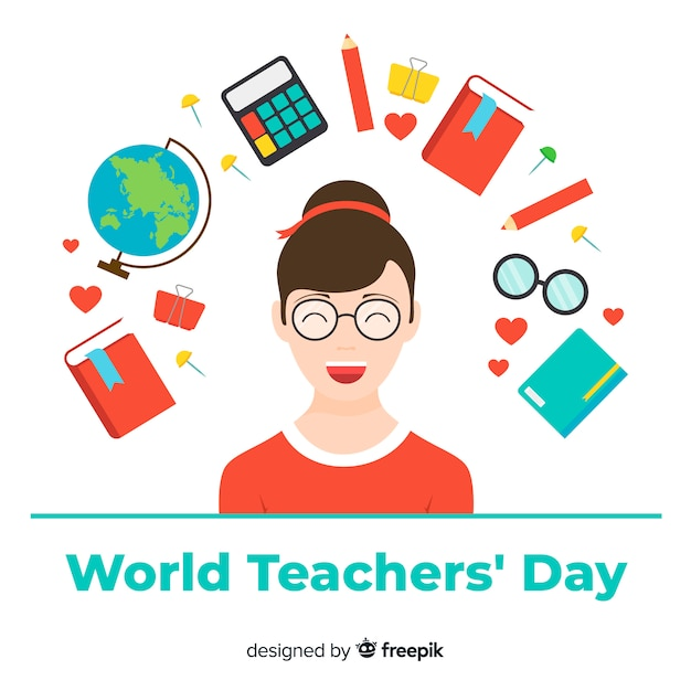 Teacher's day background with female teacher and school elements in flat design Free Vector