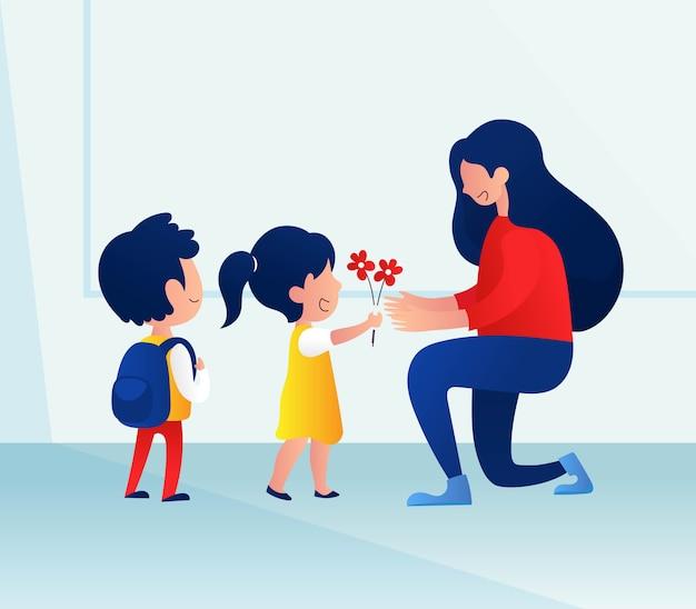 День учителя с детьми преподносит цветы учителю Premium векторы