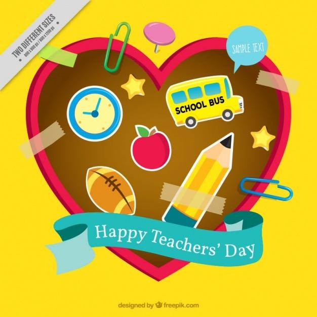 Teacher\'s day background with school\ supplies