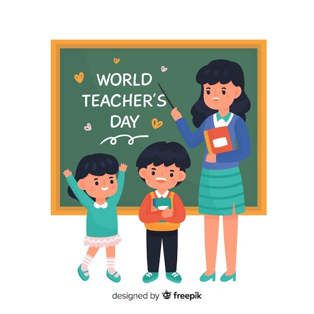 Teacher's day event cartoon Free Vector