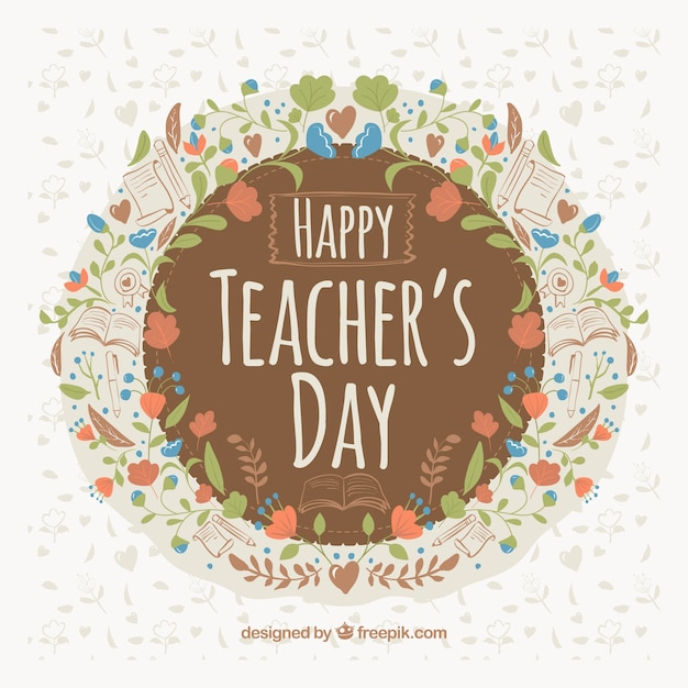 Teacher's day, floral frame