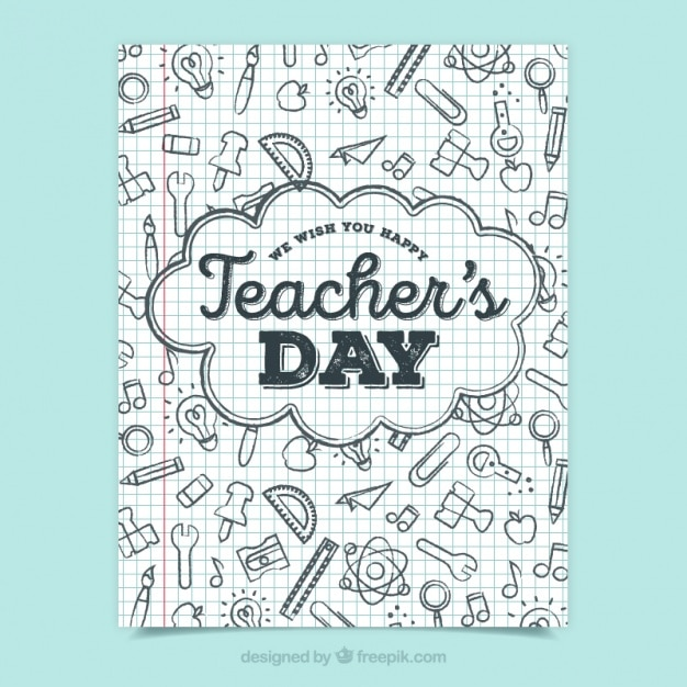 Teacher S Day Greeting With Doodles Vector Free Download