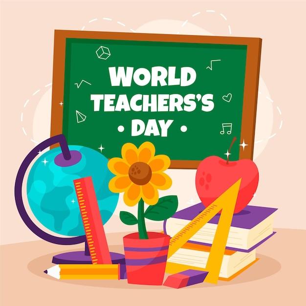 Иллюстрация дня учителя с различными элементами обучения Бесплатные векторы