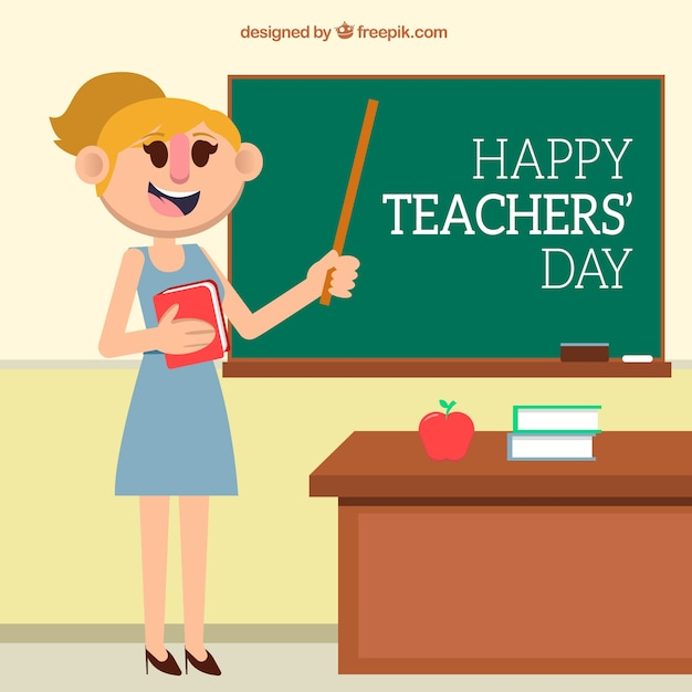 Teacher\'s day, teacher in class