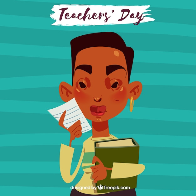 Teacher's day, teacher on a blue background