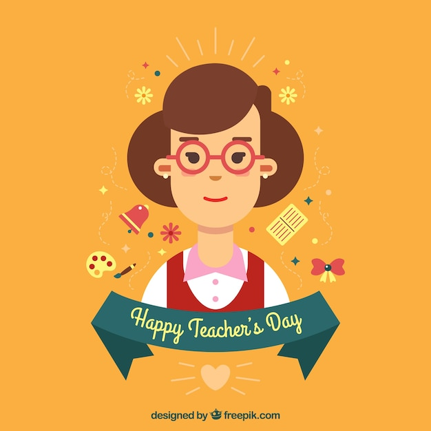 Teacher\'s day, teacher on an orange\ background