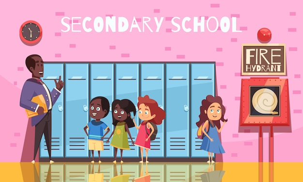 Teacher and secondary school students during conversation on background of pink wall with lockers cartoon Free Vector