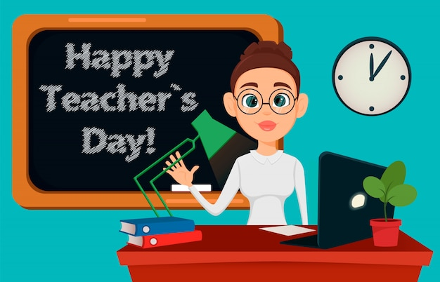 Teacher sitting at her desk while lesson in classroom Premium Vector