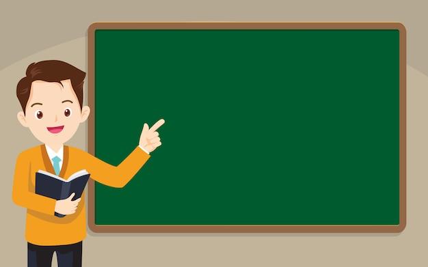 Teacher standing in front of chalkboard Premium Vector