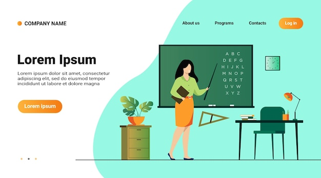 黒板の近くに立って、棒を保持している教師は、フラットベクトルイラストを分離しました。黒板の近くとアルファベットを指す漫画の女性キャラクター 無料ベクター
