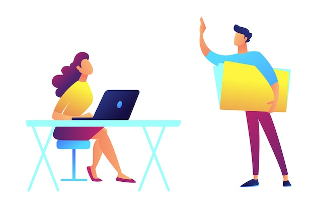 Teacher standing and pointing and student sitting at the desks vector illustration. Premium Vector