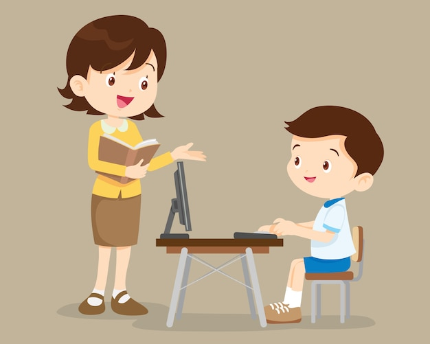 Teacher and student boy learning computer Premium Vector