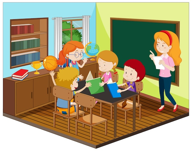 Teacher and student in the classroom with furnitures Free Vector