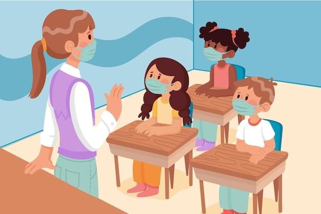 Insegnante e studenti che indossano una maschera facciale in classe Vettore gratuito