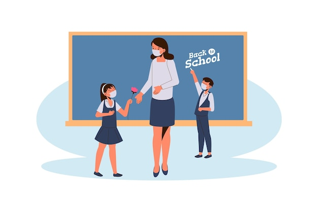 Teacher and students wearing face mask in class Free Vector