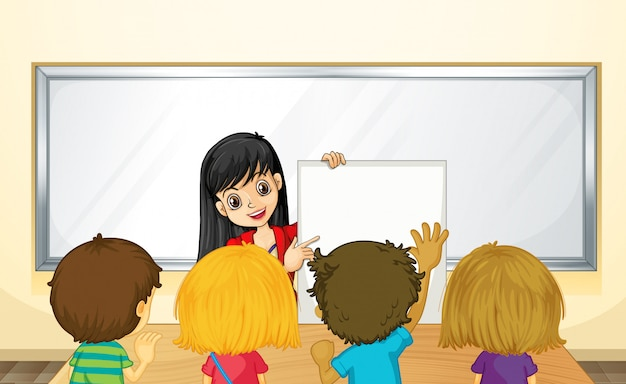 Teacher teaching kids in class Free Vector