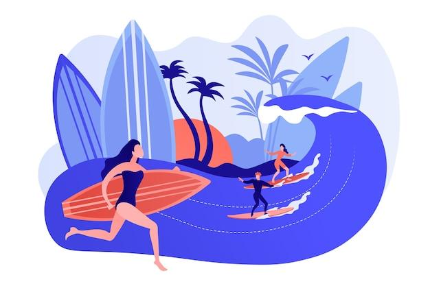 サーフィンを教えている先生、海のサーフボードで波に乗って、小さな人々。サーフィンスクール、サーフスポットエリア、ここでサーフィンを学ぶコンセプト。ピンクがかった珊瑚bluevector分離イラスト 無料ベクター