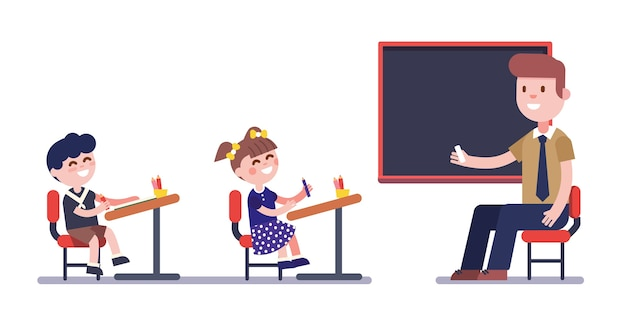 Teacher or tutor studying with group of kids Free Vector