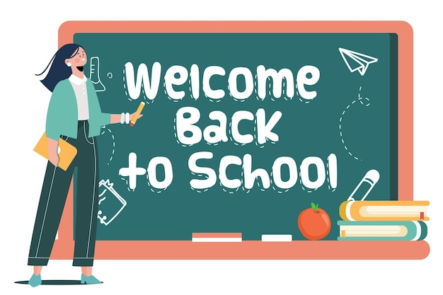 Teacher welcomes back to school concept Free Vector