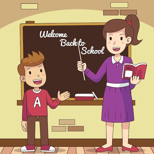 Teacher welcomes back to school Free Vector