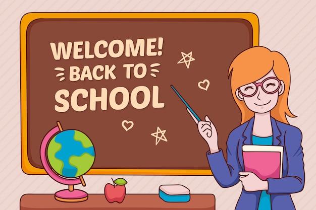 Teacher welcomes back to school Free Vector