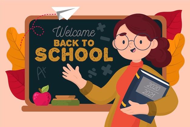Учитель приветствует снова в школу Бесплатные векторы