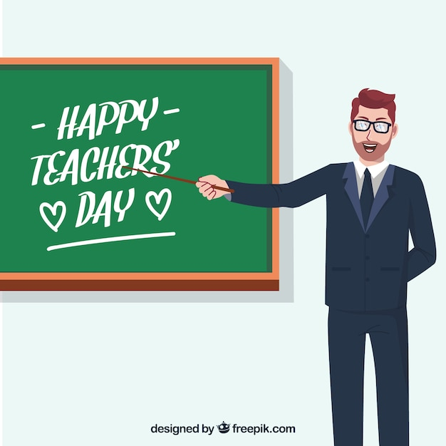 Teacher with a blackboard, teacher\'s day