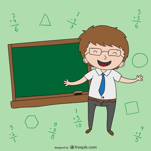 Teacher with blackboard cartoon