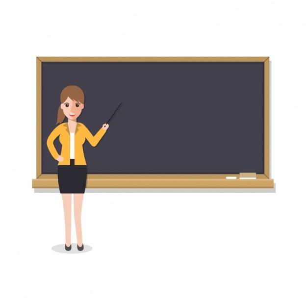 Teacher with a blackboard design Free Vector