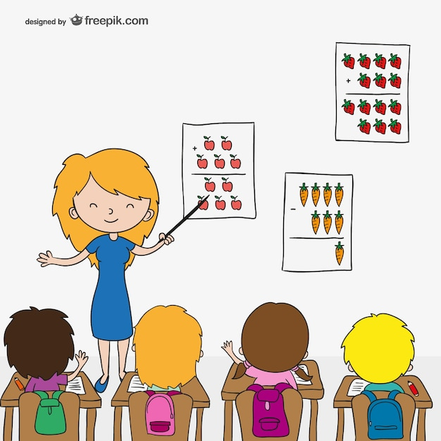Teacher with children cartoon