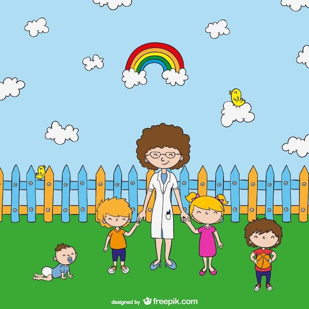 teacher with kids cartoon free vector - Kids Cartoons Free