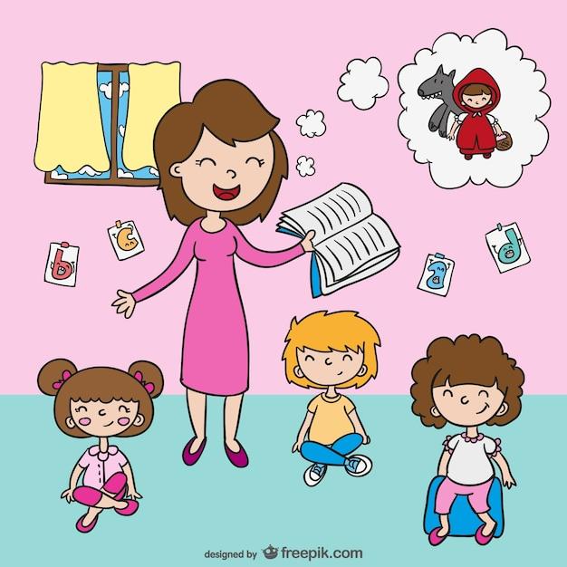 Teacher with pupils cartoon