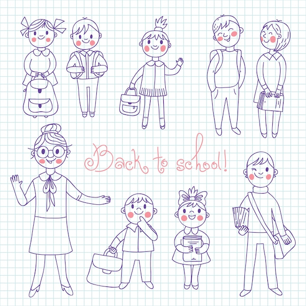 The teacher with the students. back to school. Premium Vector