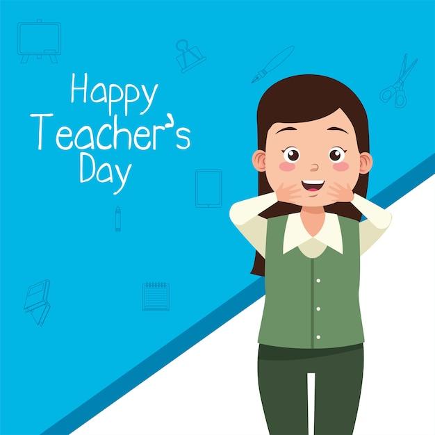 Учитель женщина персонаж с надписью день учителя Premium векторы